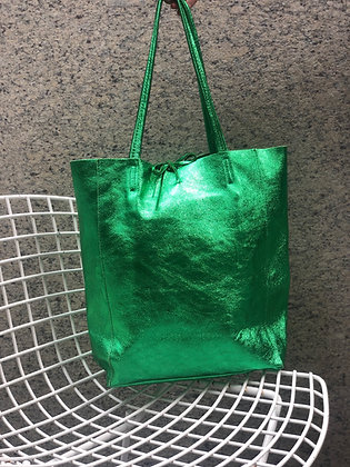 Metallic Green Leather Tote - Jijou Capri