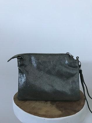 Elvira Glossy Olive Leather Crossbody bag - Jijou Capri