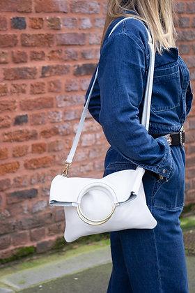 Twiggy White Grained Leather Handbag - Jijou Capri