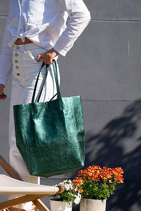 Metallic Forest Green Leather Tote - Jijou Capri