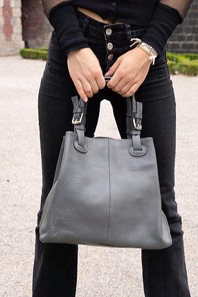 Quatro side grey Leather Handbag - Jijou Capri