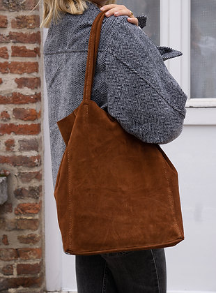 Brown Suede Leather Tote Bag - Jijou Capri
