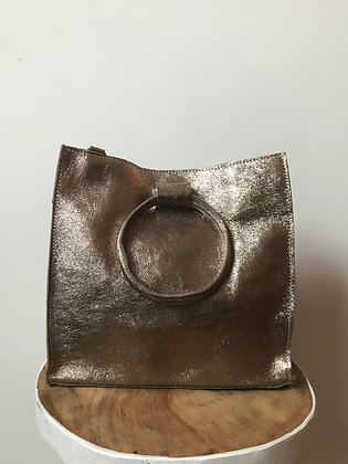 Bronze Momi Metallic Leather Handbag - Jijou Capri