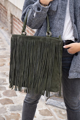 Olive Jungle Suede leather handbag - Jijou Capri