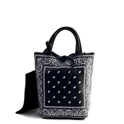 Mini Basic Bandana Black Leather Tote Bag - Jijou Capri