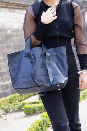 Navy Becky Leather Handbag - Jijou Capri