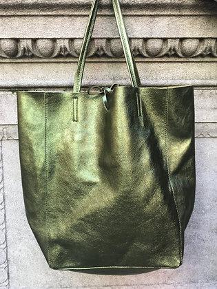 Metallic Olive Leather Tote - Jijou Capri