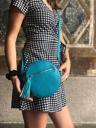 Circle Turquoise Leather Crossbody Bag - Jijou Capri