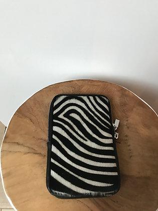 Cellphone Black Zebra Pony Leather Wallet - Jijou Capri