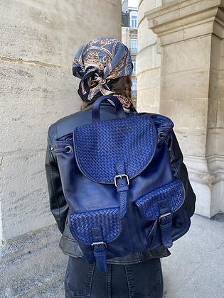 Blue Zaino Intrecciate vintage Leather Backpack - Jijou Capri