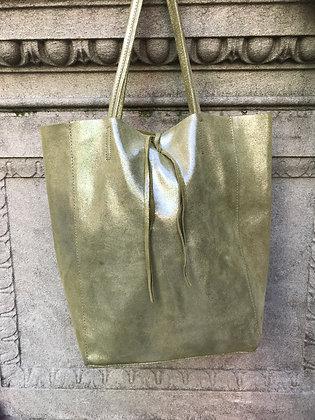Olive Glitter Leather Tote Bag - Jijou Capri