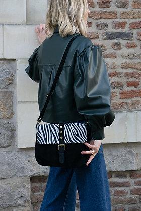 Tally Black Zebra Leather Crossbody Bag - Jijou Capri