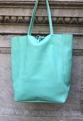 Aqua Leather Tote Bag - Jijou Capri