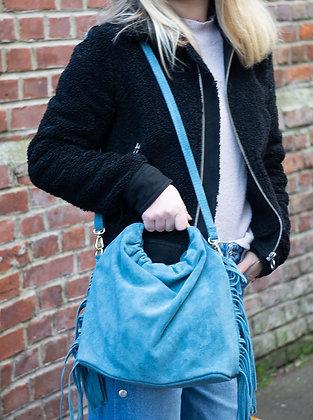 Turquoise Terry Suede Fringes Leather Handbag - Jijou Capri