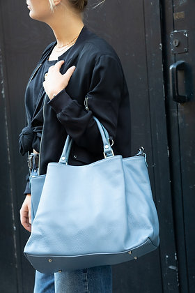 Blue Margaret Leather Handbag - Jijou Capri