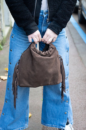 Brown Terry Suede Fringes Leather Handbag - Jijou Capri