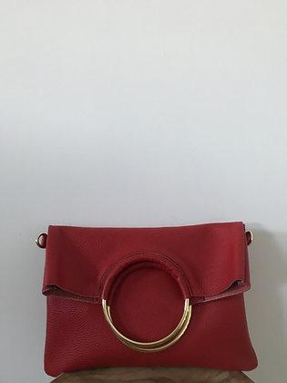 Twiggy Red Grained Leather Handbag - Jijou Capri