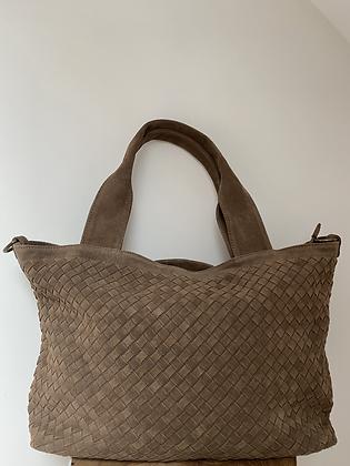 Athena Taupe Suede Vintage leather handbag - Jijou Capri