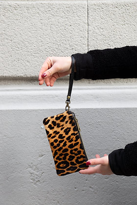 Cheetah Ziplet Pony Leather Wallet - Jijou Capri