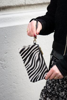 Black Zebra Ziplet Pony Leather Wallet - Jijou Capri