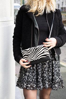 Black Zebra Sally Patta Pony Leather Clutch - Jijou Capri