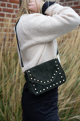Olive Tabby Suede Leather Handbag - Jijou Capri