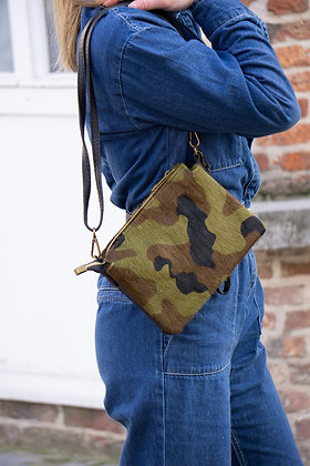 Elvira Pony Army Leather Crossbody bag - Jijou Capri