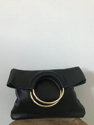 Twiggy Black Grained Leather Handbag - Jijou Capri