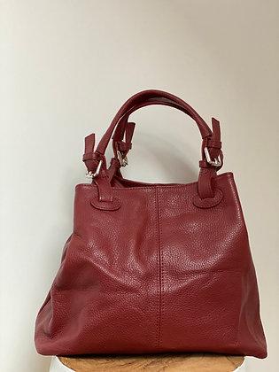Quatro side Red Leather Handbag - Jijou Capri