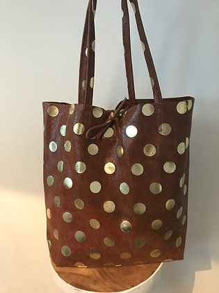 Big Golden Dots Camel Tote Bag - Jijou Capri