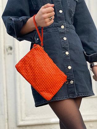 Orange Ziplet Vintage Leather Wallet - Jijou Capri