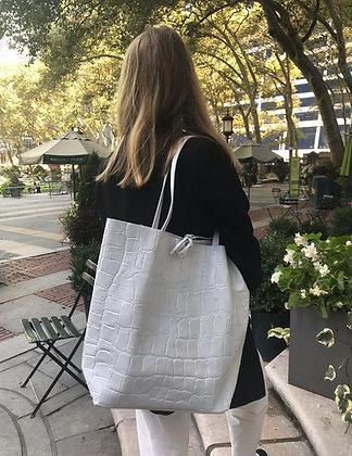 White Croco Embossed Tote Bag - Jijou Capri