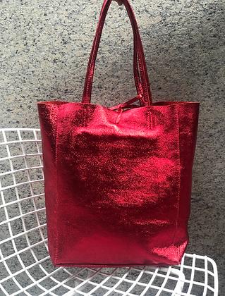 Metallic Red Leather Tote - Jijou Capri