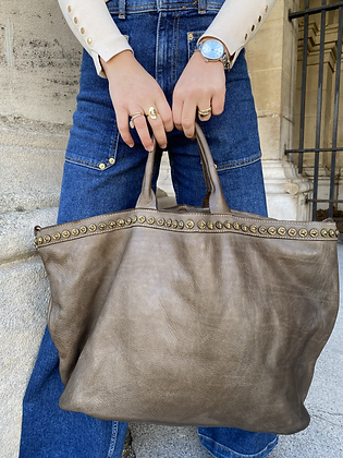 Taupe Minos Vintage Studs Leather Handbag - Jijou Capri