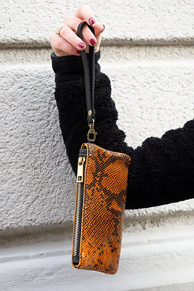 Orange Ziplet Leather Snake Wallet - Jijou Capri