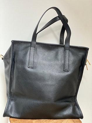 Black Babylone grained Leather Handbag - Jijou Capri