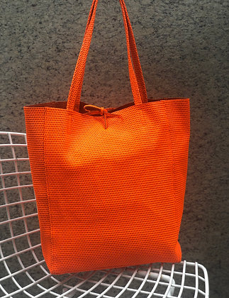 Orange Neon Leather Tote - Jijou Capri