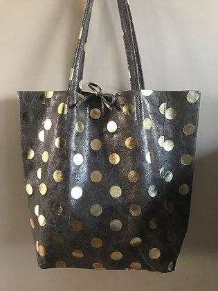Big Golden Dots Grey Tote Bag - Jijou Capri