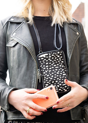 Cellphone Black Mini Spots Pony Leather Wallet - Jijou Capri