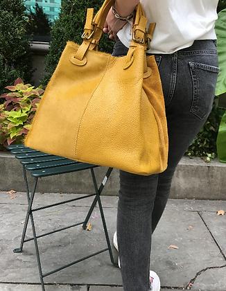 Quatro Materiali Mustard Leather Handbag - Jijou Capri