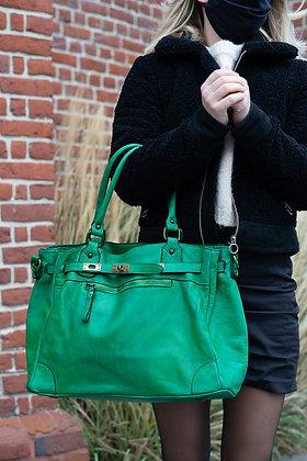 Classic Green Sophia Vintage Leather Handbag - Jijou Capri