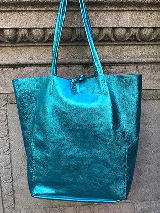 Metallic Turquoise Leather Tote - Jijou Capri