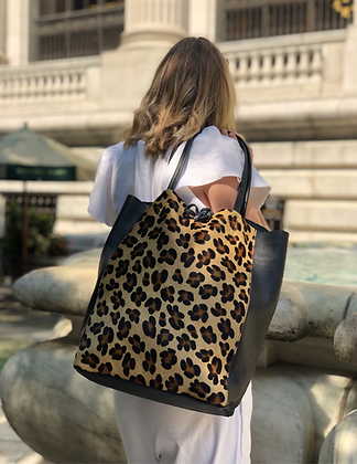 Leather Half Pony Cheetah Tote Bag - Jijou Capri