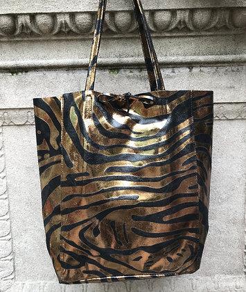 Big Zebra Copper Tote Bag- Jijou Capri