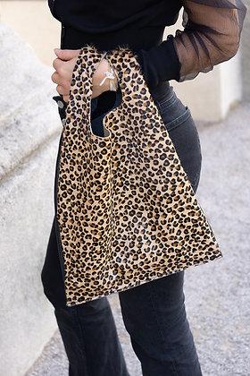 Mini Cheetah Tokyo Half Pony leather handbag- Jijou Capri