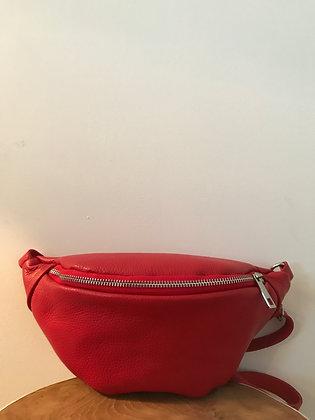 Fanny Pack Red Grained Leather - Jijou Capri