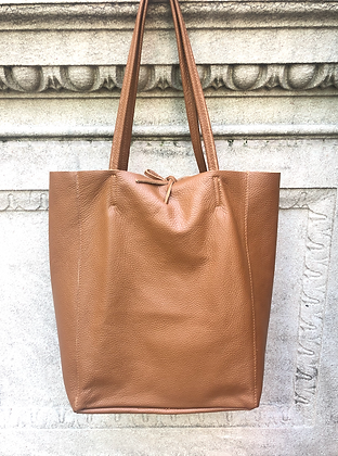 Brown Grained Leather Tote Bag - Jijou Capri
