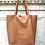 Thumbnail: Brown Grained Leather Tote Bag - Jijou Capri