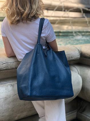 Petrol Maxi Leather Tote Bag - Jijou Capri
