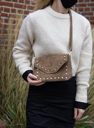 Taupe Tabby Suede Leather Handbag - Jijou Capri